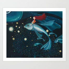 flying with fish Art Print
