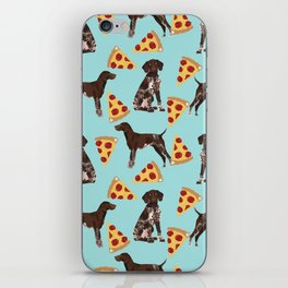 German Shorthair Pointer dog breed pet art pizza slices pattern design by pet friendly dog lovers iPhone Skin