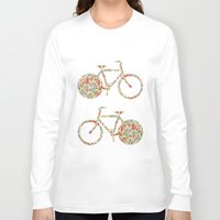preppy Long Sleeve T-shirts featuring Whimsical cute girly floral retro bicycle by Girly Trend