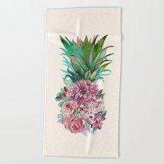Floral Pineapple Beach Towel