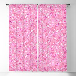 Kawaii Menhera on Pink Blackout Curtain