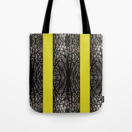 Gothic tree striped pattern mustard yellow Tote Bag