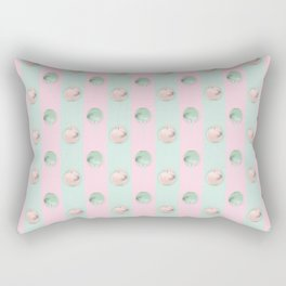 Pink green striped background with apple Rectangular Pillow