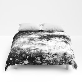 Chaotic Space : Galaxy Black White Gray Comforters