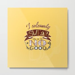 I solemnly swear that I'm up to no good HP phrase in yellow and red color with snitch and broom Metal Print