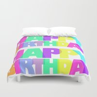 happy birthday Duvet Covers featuring Happy Birthday by Campbell Creative