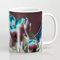 popart Mugs featuring TULIPS - BROWN-BLUE - Popart by CAPTAINSILVA