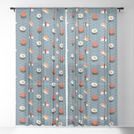 Sushi Pattern Sheer Curtain