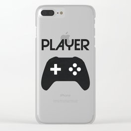 Player Text and Gamepad Clear iPhone Case
