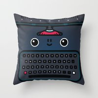 typewriter Throw Pillows featuring typewriter by The Geek Store