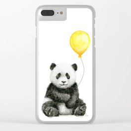 Panda Watercolor Animal with Yellow Balloon Nursery Baby Animals Clear iPhone Case
