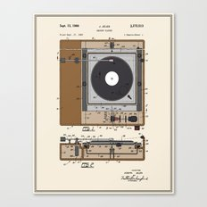Record Player Patent - Colour Canvas Print