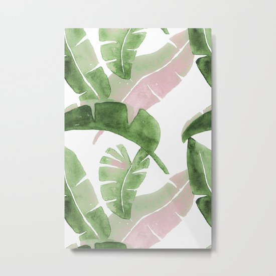 Tropical Leaves Green And Pink Metal Print