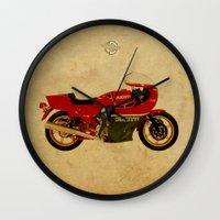 ducati Wall Clocks featuring Ducati 900 MHR 1980 by Larsson Stevensem