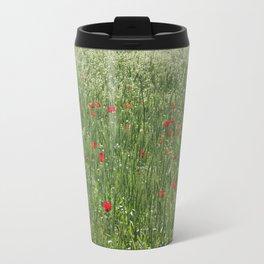 Poppy Field And Springtime Hay Meadow  Travel Mug