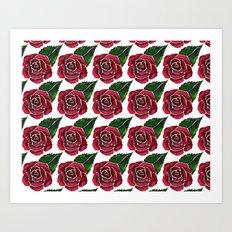 Red Roses Pattern Art Print