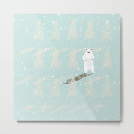 Polar bear in snowy white winter forest -Illustration Metal Print