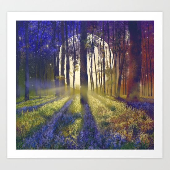 moonlight forest landscape Art Print