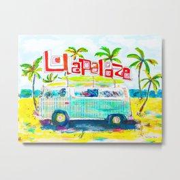Lollapalooza Plaid Rad Beach Van Metal Print
