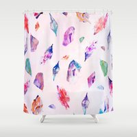 crystals Shower Curtains featuring Watercolour Crystals  by Nikkistrange