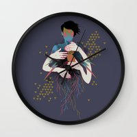 rush Wall Clocks featuring The Rush by Hillary White