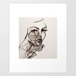 Woman, peonies and rebirth Art Print