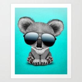 Cute Baby Koala Bear Wearing Sunglasses Art Print