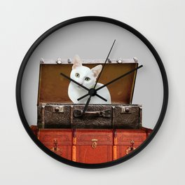 White little cat in suitcase  Wall Clock