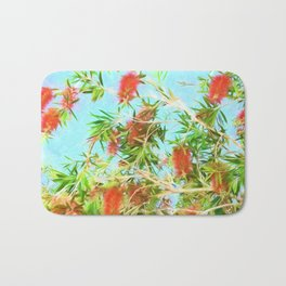 Tropical Bottle Brush Flowers In Florida Bath Mat