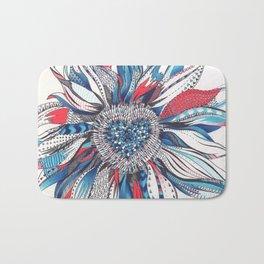 Flower Patterns on White Bath Mat