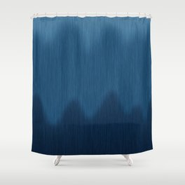 Wavy Digital Denim Blue Jean Pattern Shower Curtain