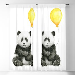 Panda Watercolor Animal with Yellow Balloon Nursery Baby Animals Blackout Curtain