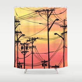 Industry poles sunset Shower Curtain