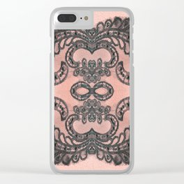 Boujee Boho Infinity Goth Coral Pink & Black Lace Mandala Clear iPhone Case