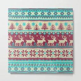 Ugly Christmas Sweater Digital Knit Pattern 2 Metal Print