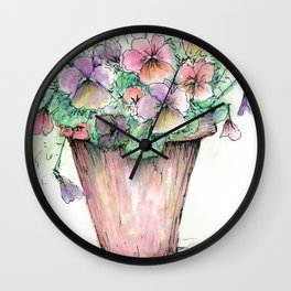 Watercolor Pansies Wall Clock