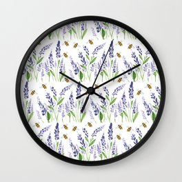 Lavender with Bees Wall Clock