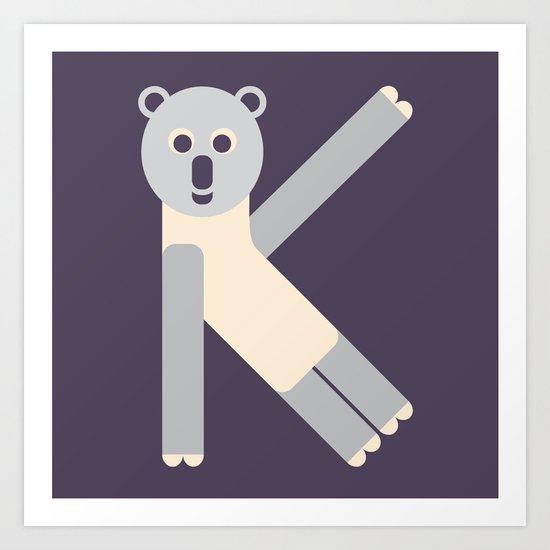 Letter K // Animal Alphabet // Koala Monogram Art Print