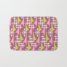 Mid Century Modern Atomic Wing Composition 55 Burgundy Pink and Chartreuse Bath Mat