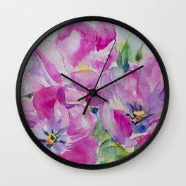 Watercolor Tulip Wall Clock