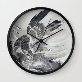 Eagle Attacking Fish - Digital Remastered Edition Wall Clock
