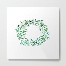 Watercolor Holiday Wreath Metal Print