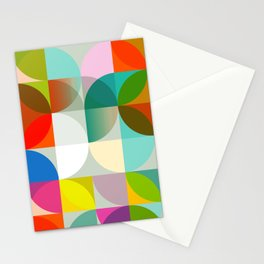 mid century geometry vibrant colors Stationery Cards