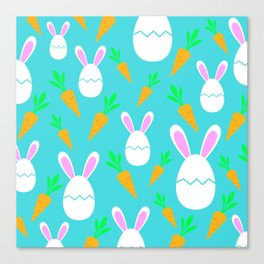 Happy Bunnies & Carrots | Easter Bunny | Easter Egg Bunny | pulps of wood Canvas Print