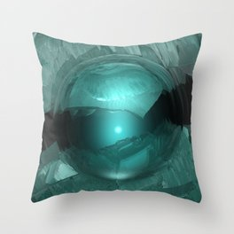 Green Cavern Reflections Throw Pillow