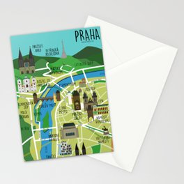 Prague map illustrated Stationery Cards