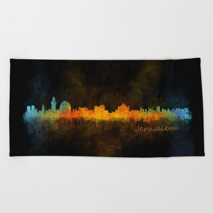 Jerusalem City Skyline Hq v4 Beach Towel
