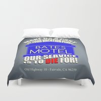 hitchcock Duvet Covers featuring Bates Motel Advertisement  |  Alfred Hitchcock by Silvio Ledbetter