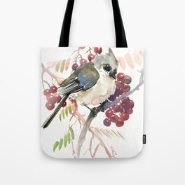 Cute Little Bird and Berries, Tufted Titmouse Tote Bag