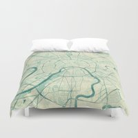 moscow Duvet Covers featuring Moscow Map Blue Vintage by City Art Posters